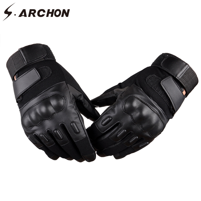 S.ARCHON PU Leather Tactical Full Finger Gloves Men Winter Warm Military Combat Motorcycle Glove Army Fight SWAT Bicycle Gloves