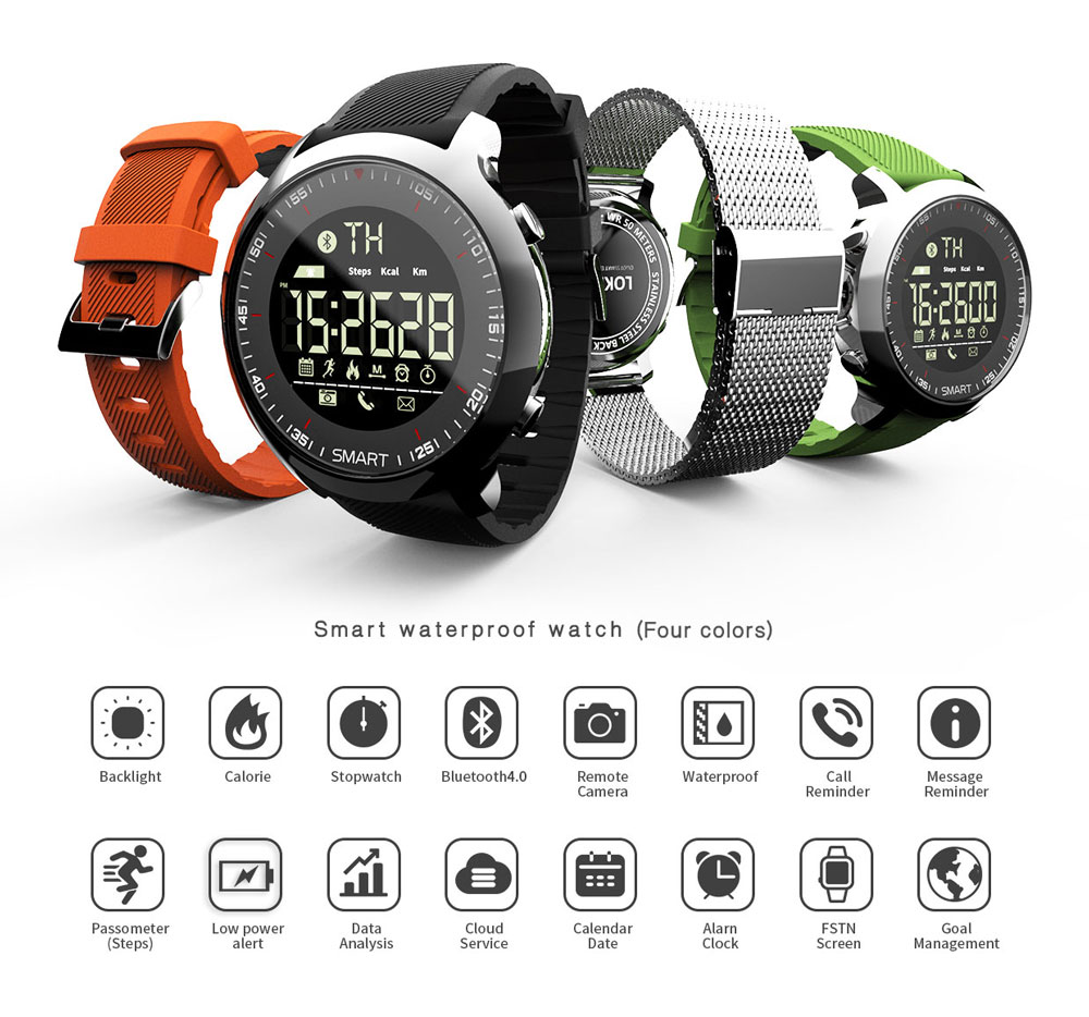 Montre intelligente hommes, smartwatch Bluetooth 4.0 pour ios Android