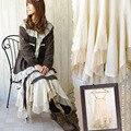 Japonés Primavera Verano mujeres Sueltan Disign Algodón Patchwork Decoración de Encaje Asimétrico Irregular Falda Lolita Mori Chica C240