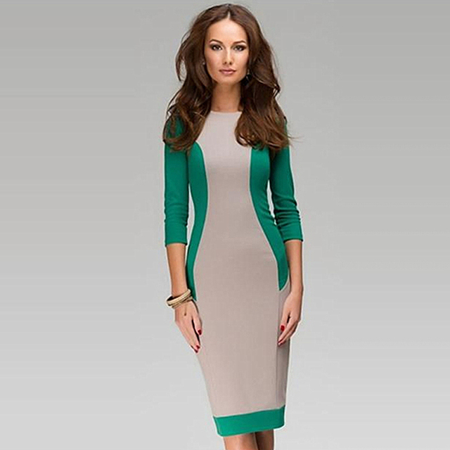 46a9066bc7 JIROFA New 2016 Autumn Dress UK Quality Women Midi Dresses O Neck Three  Quarter Sleeve Green