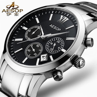 Aesop Quartz Analog Men S Watch Men Multifunction Chronograph Watches Stainless Steel Sports Clock Push Button