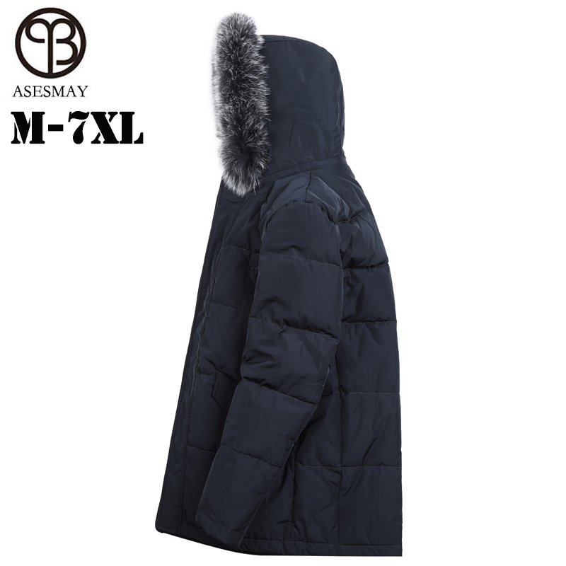 Asesmay Marque 90% duvet de canard blanc de haute qualité hommes vers le bas veste hommes manteau d'hiver hoodies fourrure de renard parkas plus taille livraison gratuite