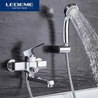 LEDEME Klassische Badewanne Wasserhahn Baden Dusche Badezimmer Wand Montiert Bad Wasserhahn Set Mixer Heißer Und Kaltwasser Einzigen Griff L3130