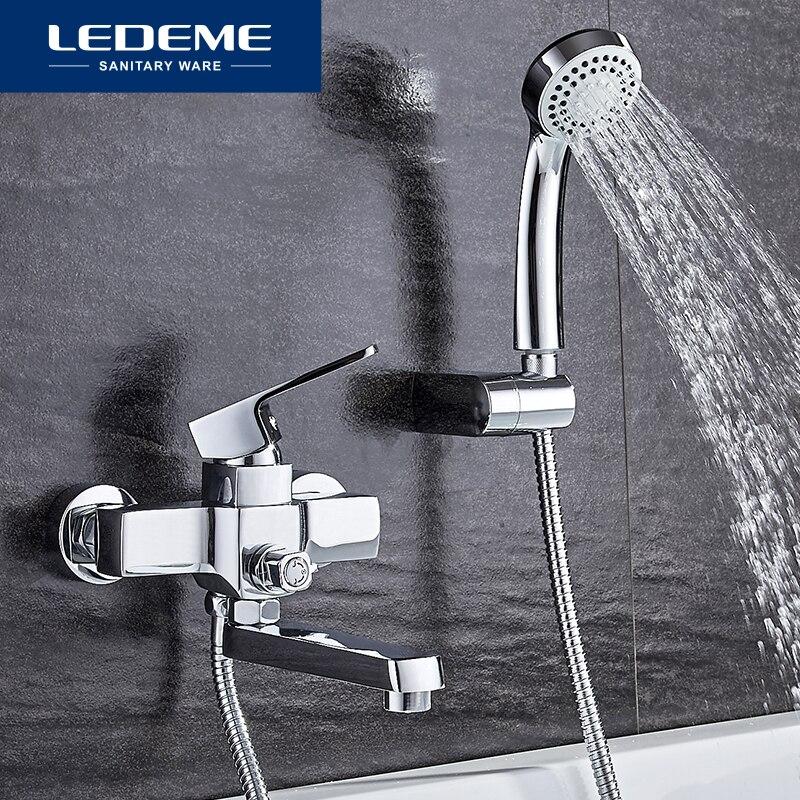 LEDEME clásico grifo de bañera baño de ducha montado en la pared juego de grifería mezclador de agua caliente y fría de un solo mango L3130