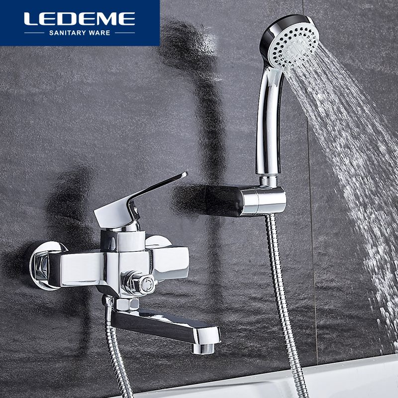 LEDEME classique robinet de baignoire bain douche salle de bain mural robinet de bain ensemble mélangeur eau chaude et froide poignée unique L3130