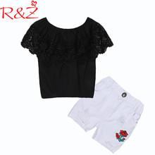 R&Z Girls Clothing Set 2017 INS Hot Black Lace Word Shoulder Top T-shirt +White Irregular Hole Shorts Kids Clothes Suit k1