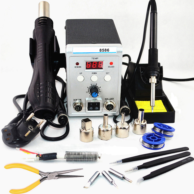 8586 2 In 1 750W 220V Digital ESD Hot Air Guns Soldering Station Welding Solder Iron for IC SMD Desoldering Rework Station New esd safe 75w soldering handpiece t245a solder iron handle for di3000 intelligent soldering station