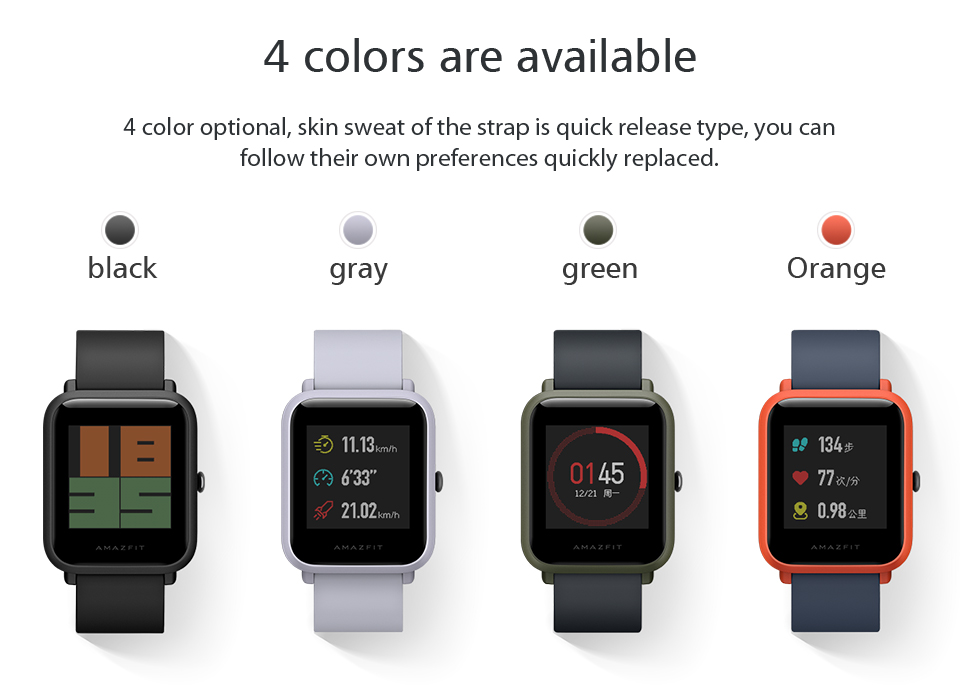 Huami Amazfit Bip Smart Watch With Reflection Color Screen IP68 Waterproof Technology And GPS for Android & iOS 13