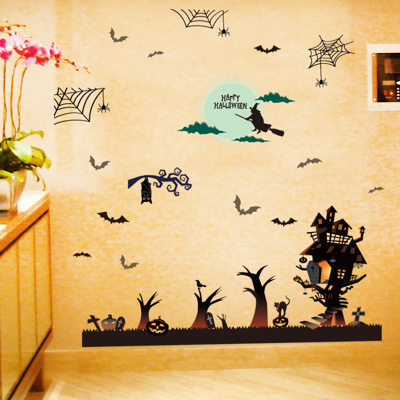 3D DIY PVC Wall Stickers Halloween Decoration Wall Decals Vintage ...