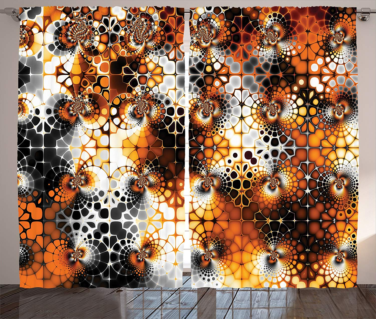 Burnt Orange Decor Curtains Vintage Mosaic Pattern With Burnt Floral Curve Features Abstract Graphic Art Living Room Bedroom