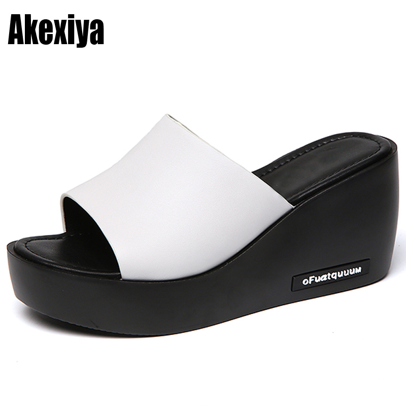 Women Sandals 2018 Summer Leather Peep Toe women Shoes Woman Flip Flops Wedges Fashion Platform Female Slides Ladies Shoes m880 wastyx new 2017 summer fashion cowboy women sandals casual women flip flops shoes wedges shoes woman