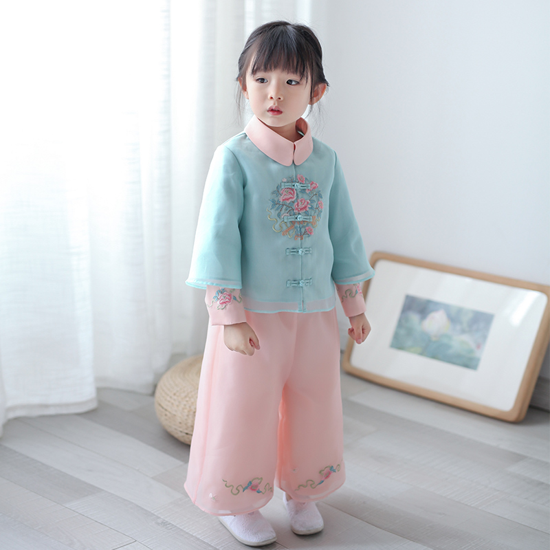 Childrens Han Suits and Female Tang Suits Embroidered Ancient Chinese Style Super Fairy Spring and Autumn Fairy SuitsChildrens Han Suits and Female Tang Suits Embroidered Ancient Chinese Style Super Fairy Spring and Autumn Fairy Suits