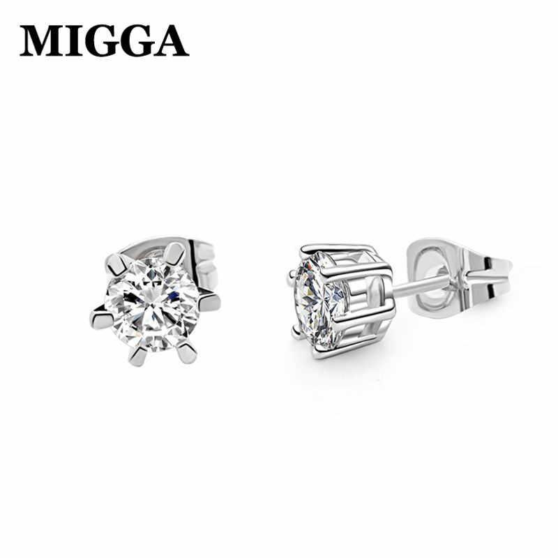 MIGGA haute qualité 6 broches étincelantes 0.5ct cubique zircone cristal boucles d'oreilles femmes filles bijoux