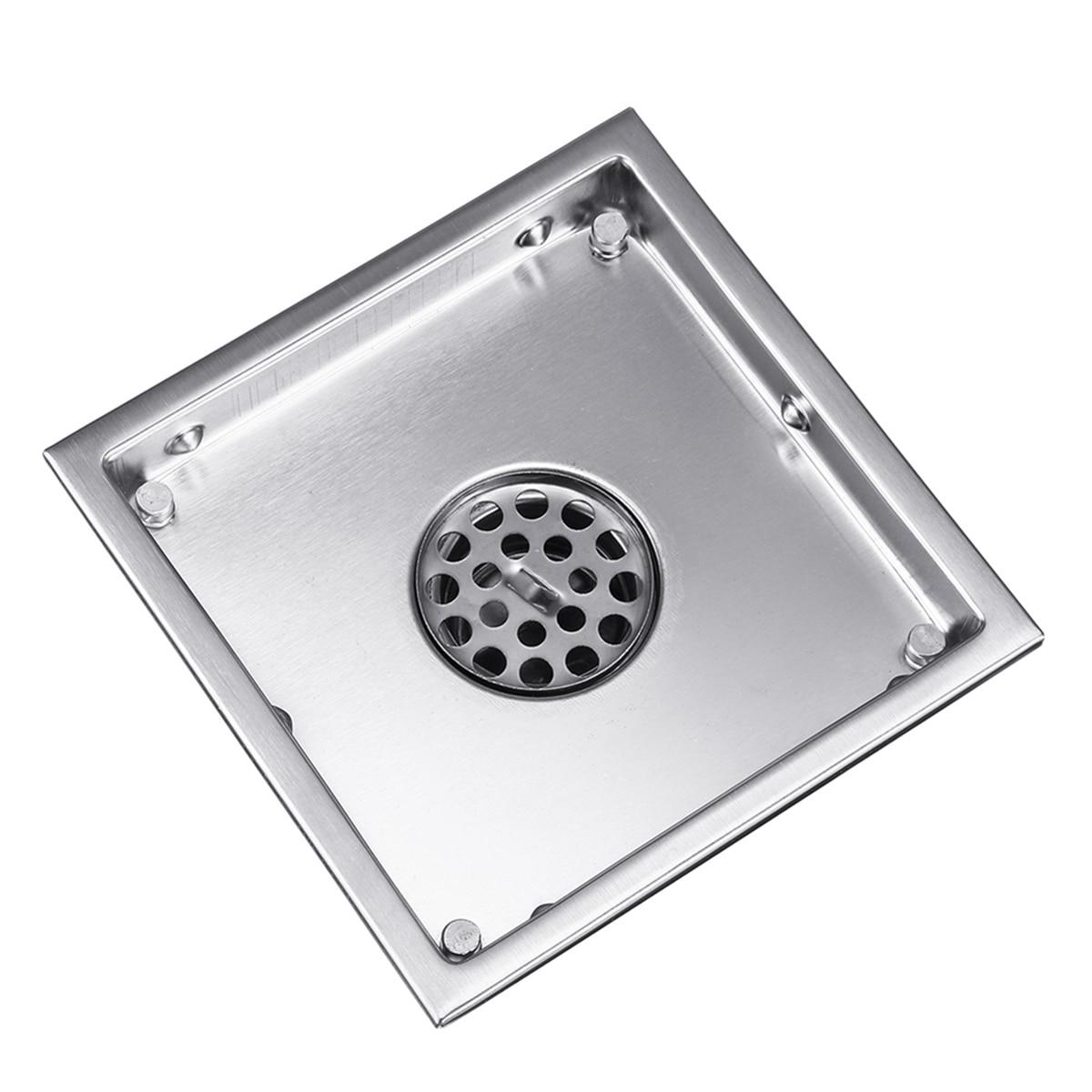 6 Inch Stainless Steel Floor Drain Quyanre Bathtub Shower Drainer Floor Strainer 15x15cm Square Invisible Bathroom Floor Drain