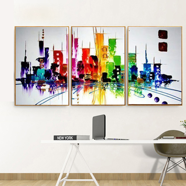 New York City Picture Canvas Painting Modern Wall Art: Aliexpress.com : Buy 3 Piece Canvas Wall Art Hand Painted