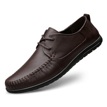 100% Genuine Leather Shoes Men Cow Leather Casual Shoes Male Outdoor High Quality Men Flats 2 Style Lace-Up Man Footwear недорого