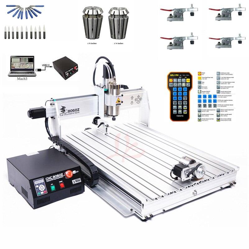 Máquina CNC Eixo 4 Porta USB Mini CNC 8060 Eixo 2200 W March3 ER20 Pinça De Corte De Metal Router CNC Para Trabalhar Madeira máquina de trituração