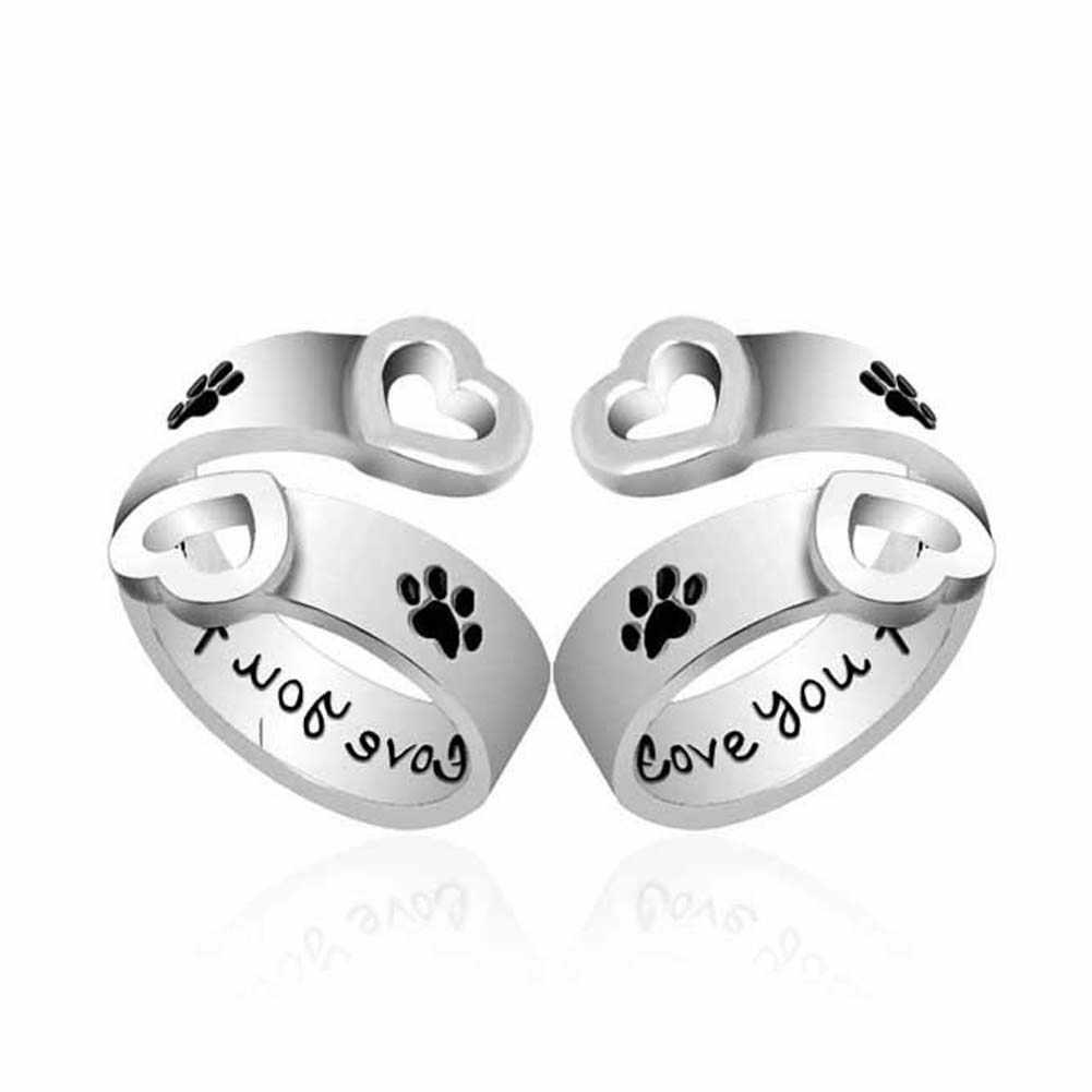 """Moda Para Animais de Estimação Da Pata Do Cão Impressão Coração Oco Anel Pata Mão Carimbada """"eu vou te amar para sempre"""" Pegadas de cães Garras Anéis Amor Presente"""