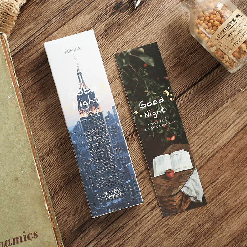 30 Pcs/Set Good Night Photography Scenery Paper Bookmark Book Holder Message Card Kawaii Gift Stationery