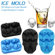 4/6 Grids Ice Cube Maker Skull Shape Chocolate Mould Cream DIY Tool Whiskey Wine Cocktail 3D Silicone Mold