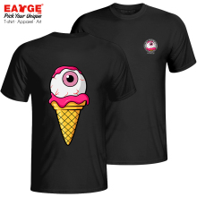 Live In A Icecream Life T Shirt Double Sided Novelty Style Design T-shirt Casual Skate Funny Unisex Cotton Black Tee