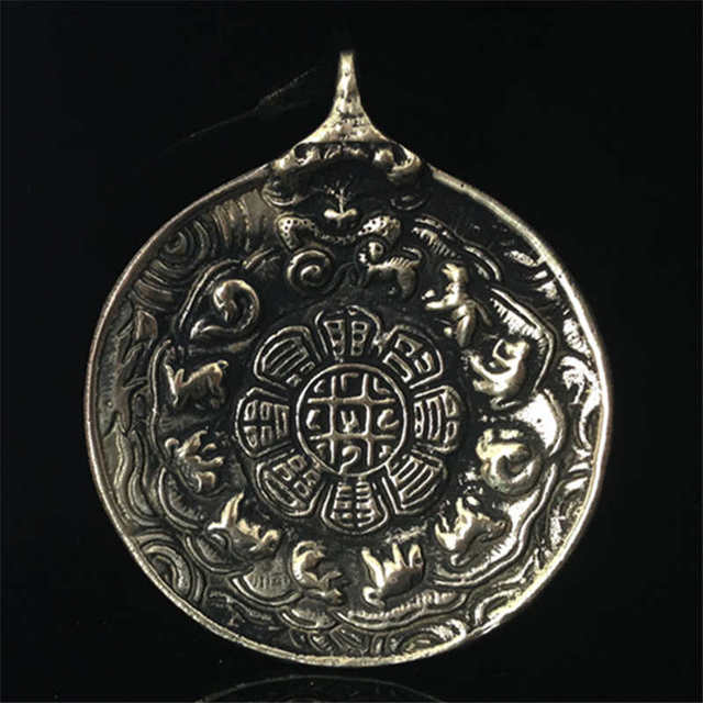 US $5 99 |TBP074 Tibet Brass Old Golden Antiqued Waist Tag Lotus Bagua  Tibetan Amulet for Man Collections-in Pendants from Jewelry & Accessories  on