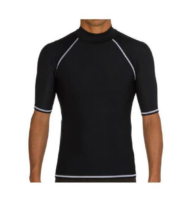 Sbart 1 PC Lycra Tops camisetas trajes de surf para hombre traje de baño raso guardia corto Sleveve negro/blanco natación 2018 DCO