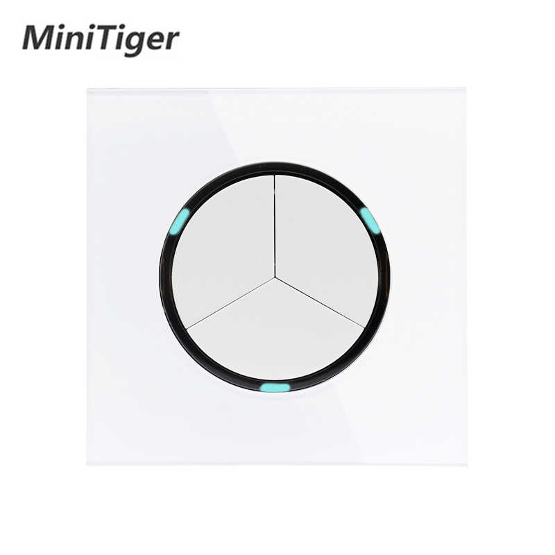Minitiger 2019 New Arrival Crystal Glass Panel 3 Gang 1 Way Random Click On / Off Wall Light Switch With LED Indicator