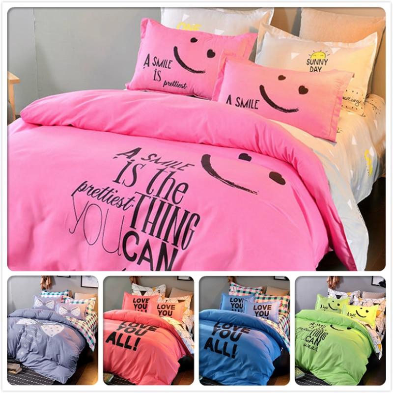 Smile Face Pink Bedclothes Kids 3/4 Pcs Bedding Sets King Queen Double Single Size Duvet Cover 1.5m 1.8m 2.0m Bedsheet Bedlinens Power Source