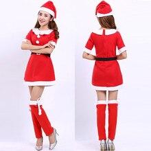 Лучший!  4 шт. Женская санта клаус с длинным рукавом с плеча рождественская одежда косплей одежда маскарадный