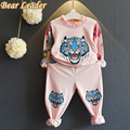 Bear Leader Girls Clothing Sets 2016 New Autumn Girls Clothes Long Sleeve Cartoon Tiger Head Print Sweatshirts+Pants 2Pcs Suits