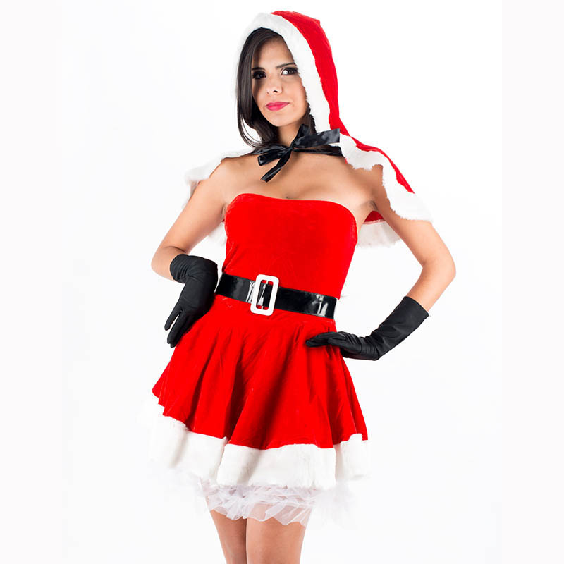 Unique 2016 High Quality Red Sexy Christmas Costume Womens Wrapped Chest Mini Santa Dress Fashion Xmas Santa Outfits W444047