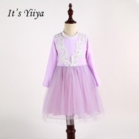 It S Yiiya Pink Long Sleeves Flower Girl Dresses Normal Party Girls Dress Princess Spring For