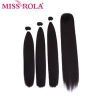 Miss Rola Synthetic Hair Bundles With Lace Closure Yaki Straight Hair Extension With Closure Double Weft Hair Weave 16 20 Inches