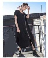 2019 Summer Women Irregular Pleated Hem Black Dress Short Sleeve V Neck Long Dress Casual Fashion Zipper Loose Dresses