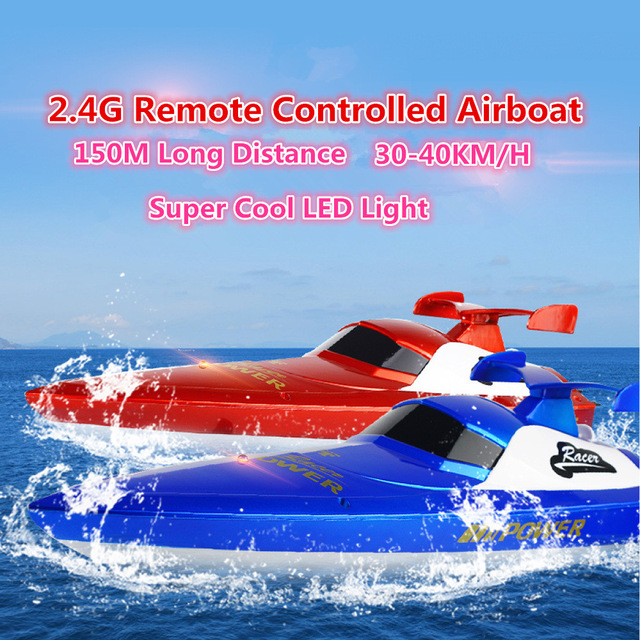 Hot sell 150m long distance Electric RC airboat 3835 2.4G 30-40km/h high speed remote control speedboat model kids toy vs FT012