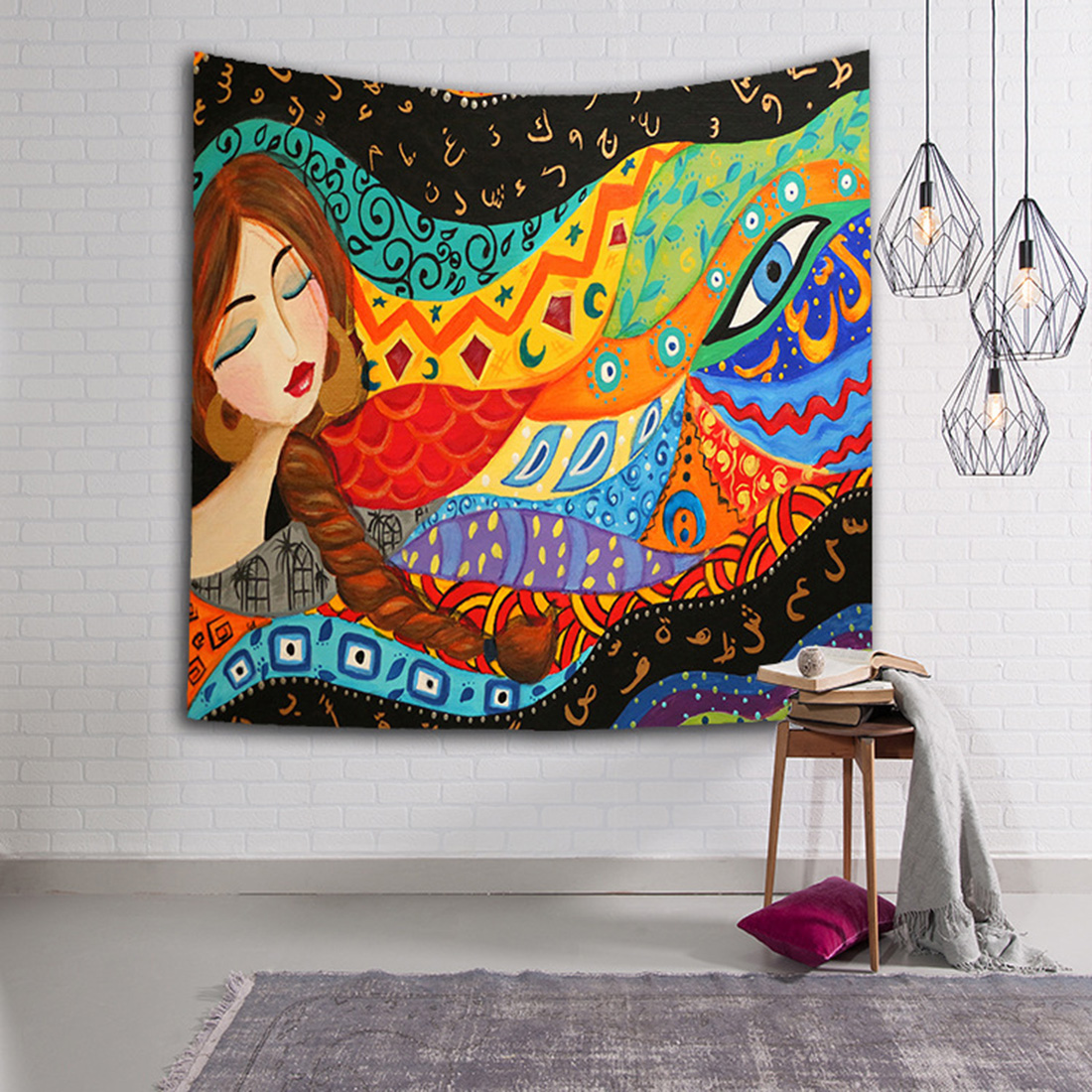Cartoon Beauty Girl Tapestry Wall Hanging Tapestries Yoga