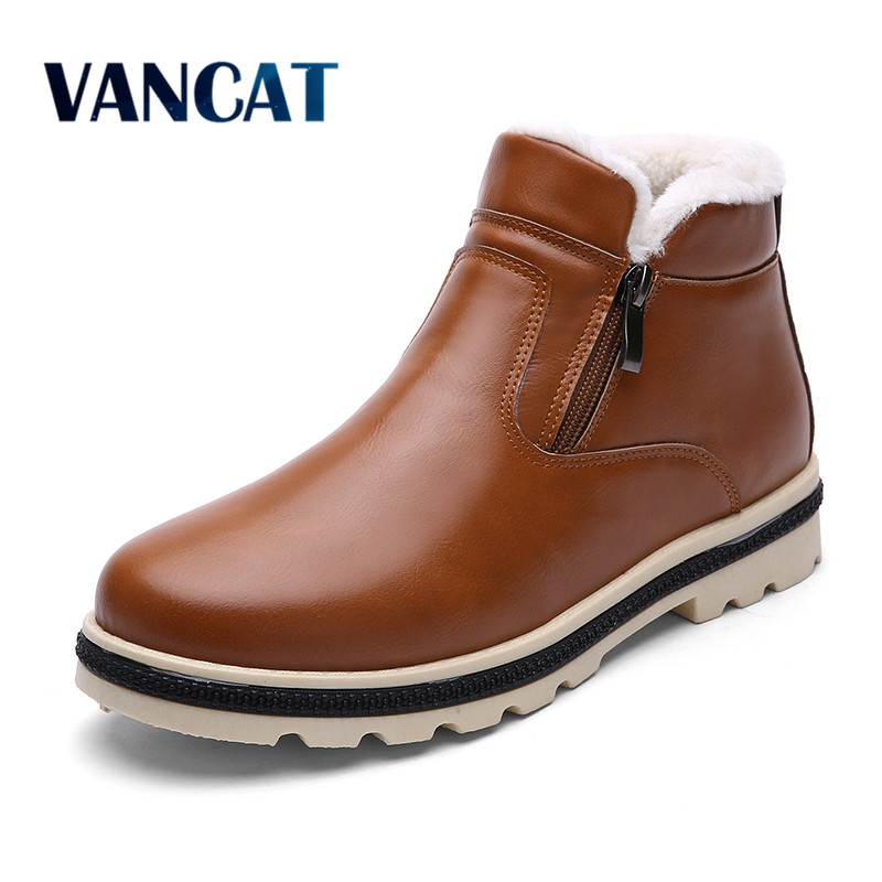 Super Warm Men's Winter Leather Boot Men Outdoor Waterproof Rubber Snow boots Leisure Martin Boots England Retro shoes for men martin winter boots for men and men s winter snow boots warm cashmere waist leather shoes in winter thickening