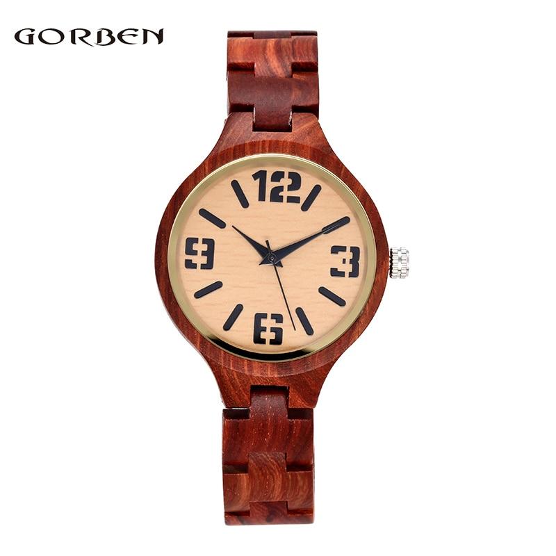 Creative Brown Full Wooden Bamboo Wrist Watch  Simple Stylish Men Women Analog Quartz Watches Best Gifts Relogio