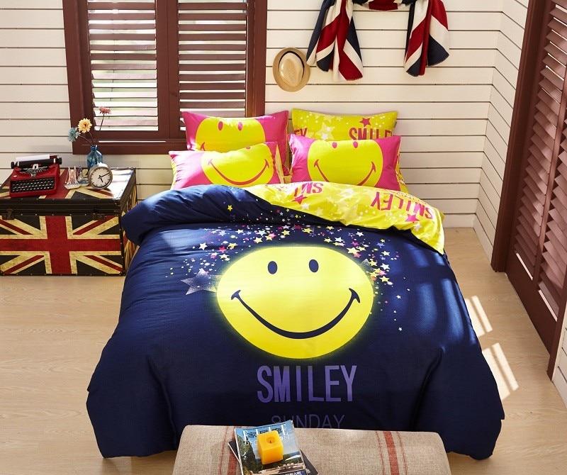 ⊱Algodón de dibujos animados cara sonriente Ropa de cama establece ...