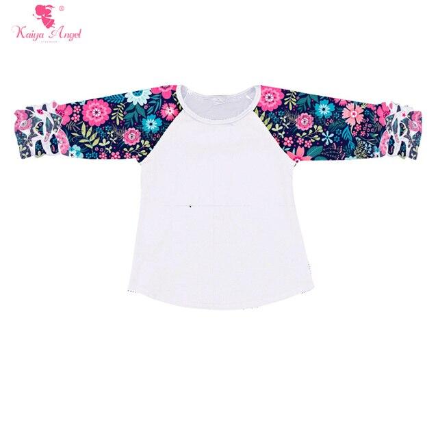 23fe07f36 Kaiya Angel Children Clothing Floral Raglan Sleeve Kids Shirt Girls Tops  Baby Girl Clothes Raglans Srping Ruffle Raglan Shirts