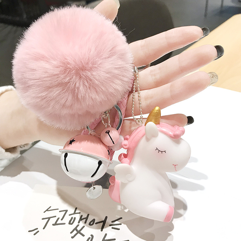 Cute Plush Pompom Unicorn Keychain Round Ball Pom Pom Faux Rabbit Fur Key Chain Trinket Car Bag Bell Key Ring Gift Porte Clef