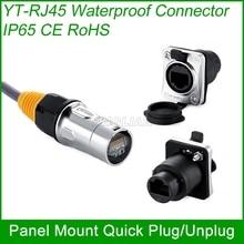 RJ45 plug socket schroef type CAT5E waterdichte connector panel mount metalen ethernet PCB Netwerk connector Cnlinko 1 unit