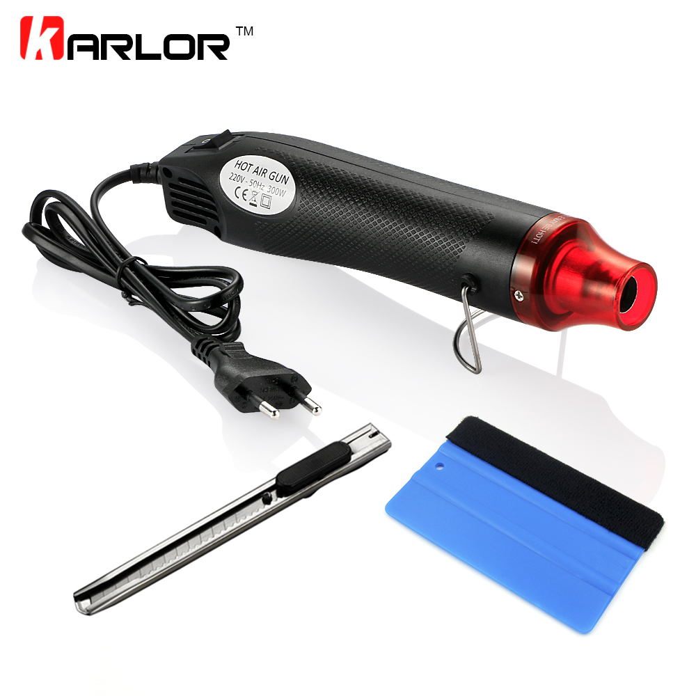 3pcs/set 220V 300W Electric Hot Air Heat Gun EU Plug+Car Scraper Squeegee+Vinyl Cutter Knife Auto Car Vinyl Film Wrapping Tools marking tools