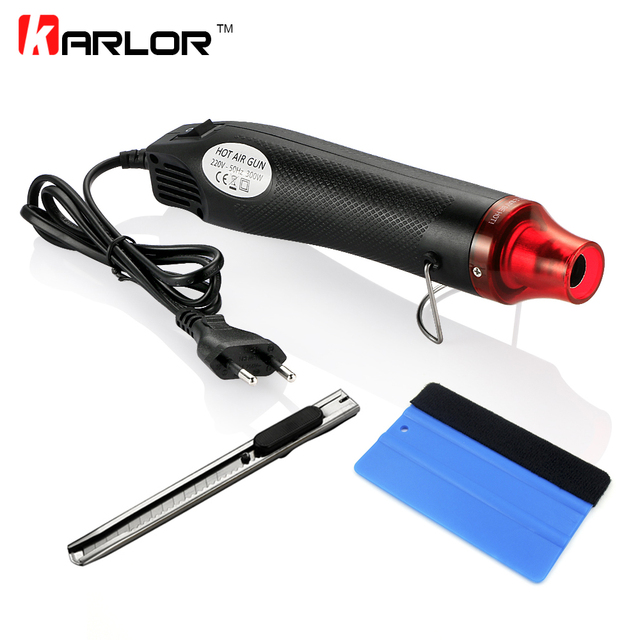 3pcs/set 220V 300W Electric Hot Air Heat Gun EU Plug+Car Scraper Squeegee+Vinyl Cutter Knife Auto Car Vinyl Film Wrapping Tools