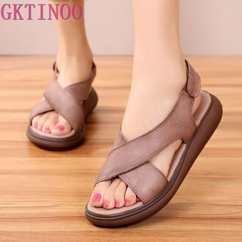 GKTINOO New Genuine Leather Gladiator Sandals Women Casual Summer Shoes Female Flat Sandals Beach Shoes Woman Zapatos Mujer jady rose weave style women genuine leather flat sandal hollow out gladiator sandals flats casual beach shoes woman sandalias