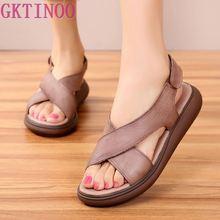 GKTINOO New Genuine Leather Gladiator Sandals Women Casual S