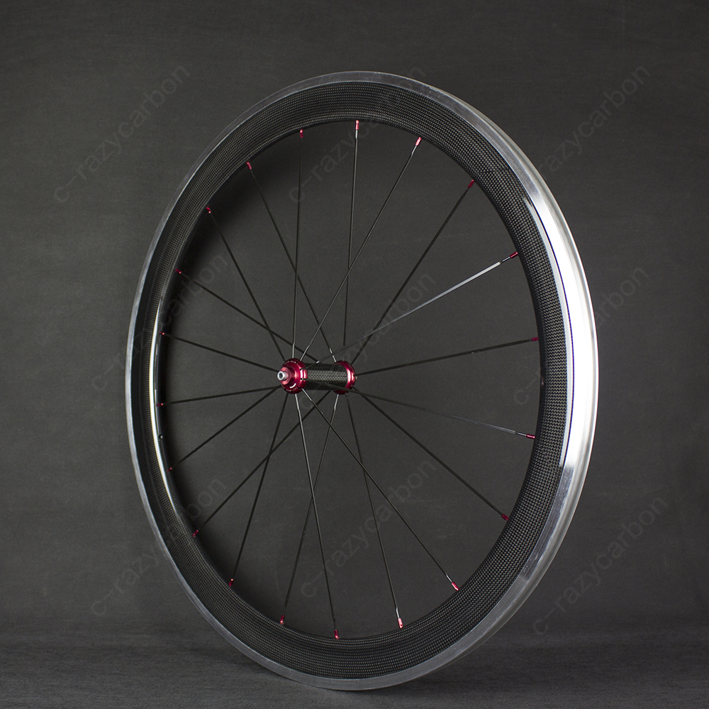 Free Shipping Carbon Wheels Aluminum Alloy Brake Surface Track 700c 50mm Carbon Fibre Road Bike Road