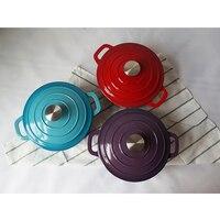 Beauty 20cm White Cast Iron Enamel Pot Exports Weekend Cooking Stew Pot Purple Blue