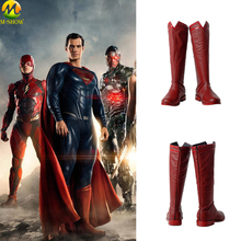цена на Movie Justice League Superman Cosplay Costumes Boots Clark Kent Shoes Leather Red Customized Boots